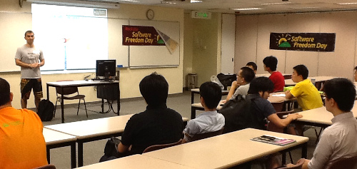 Fred introduced the Google Summer of Code program to some students during the event.